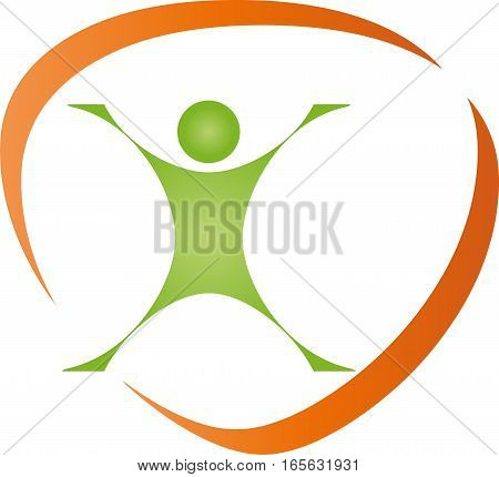 Person in motion, fitness and sports logo