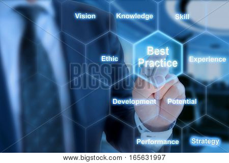 Businessman touching a field in a hexagon grid with key factors of best practices