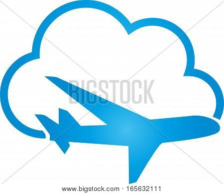 Airplane and cloud, launch business and travel logo