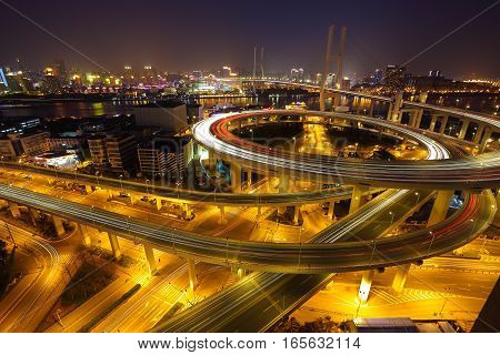 Aerial Photography At Shanghai Viaduct Overpass Bridge Of Night Scene