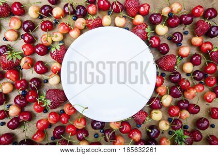 Fresh Fruit Around The White Circle