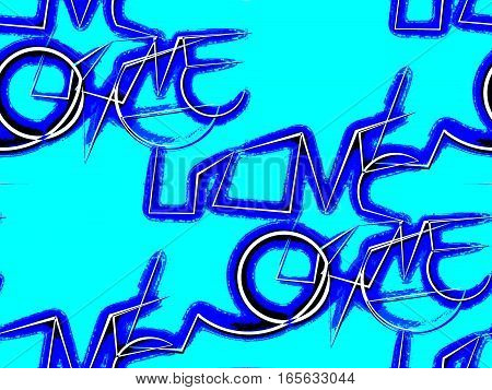 Abstract seamless background in the blue color says unusual type the word love