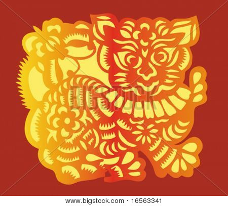 Vector Zodiac Sign of Chinese Tiger Year( 2010).