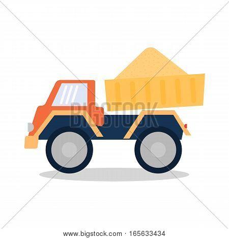 Dumper with building sand. Vector illustration .