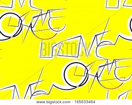 abstract seamless background on yellow cursive unusual word love