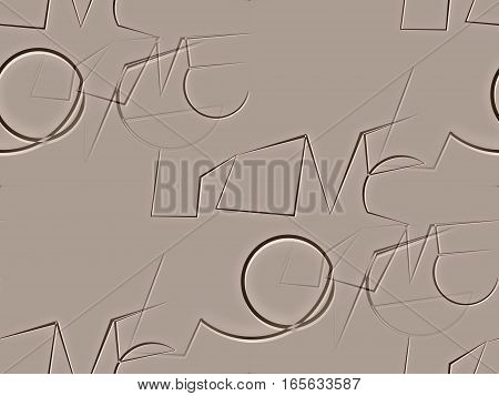 Abstract seamless pattern on brown beige written an unusual typeface the word love