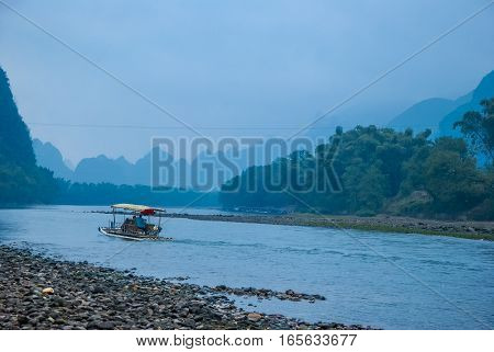 Karst mountains and Lijiang River scenery in Guilin, China.