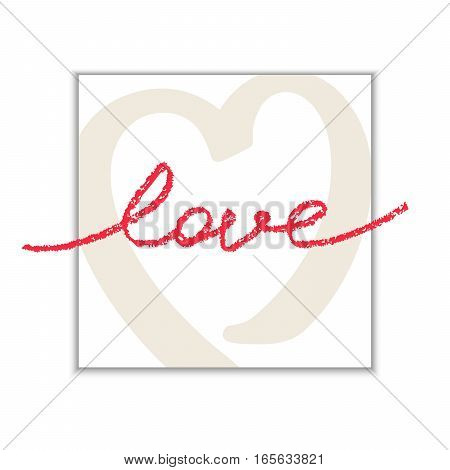Banner with hand drawn word LOVE. Trendy doodle style calligraphy. Vector illustration
