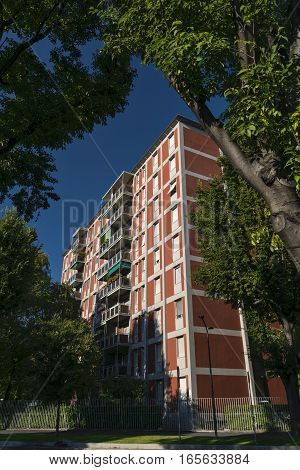 Milan (Lombardy Italy): facades of residential building along via Colleoni with balconies