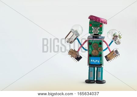 Serviceman illuminator with light bulbs in four hands. Colorful robotic character holds different retro lamps. Funny electronic parts bottle cap hat. copy space gradient gray background.