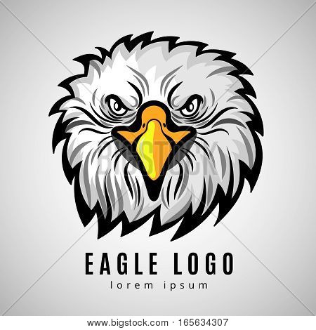 American eagle head logo or bald eagles vector label. Hawk badge emblem illustration