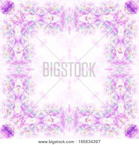 Soft fantasy square frame framed delicate violet arabesque background