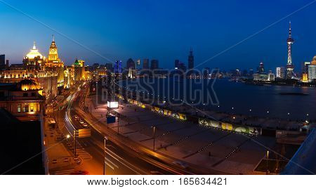 Aerial Photography At Shanghai Bund Skyline Of Panorama Night Scene