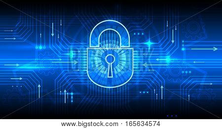 Digital information security concept with lock. Internet secure, privacy and password protection vector background. Firewall and privacy data, vector illustration