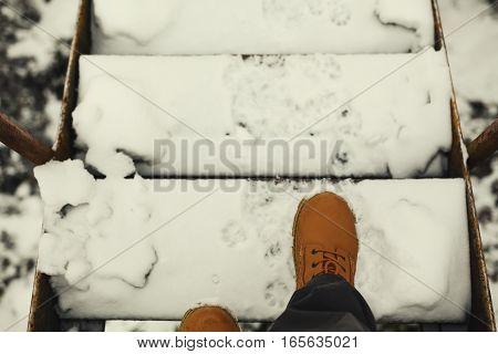 On Stairways During Winter