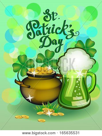 St. Patrick s Day greeting. Vector illustration. Happy St Patricks Day.Blurred Green Background