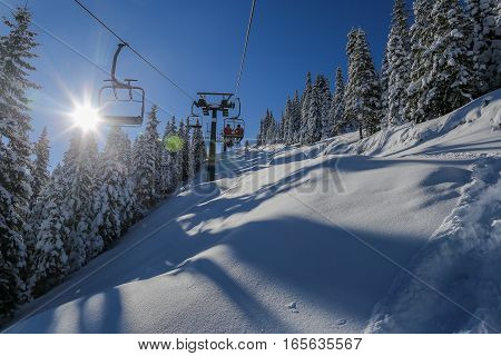 Lovely Sunny Day On A Skilift In The Snowy Carpathians