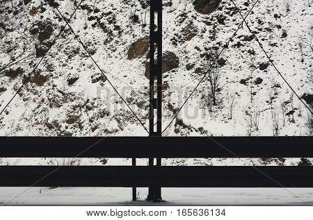 Protective Fence Of Mountain Road