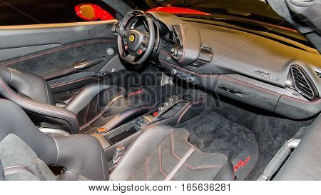DETROIT MI/USA - JANUARY 8 2017: A Ferrari 488 car interior at The Gallery an event sponsored by the North American International Auto Show (NAIAS) and the MGM Grand Detroit.