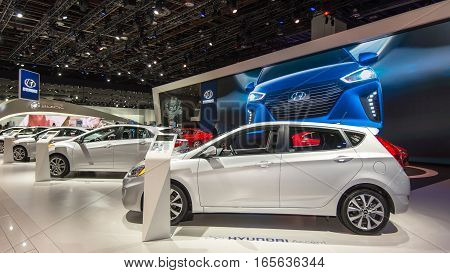 DETROIT MI/USA - JANUARY 10 2017: Hyundai Accent car and marque exhibit at the North American International Auto Show (NAIAS).