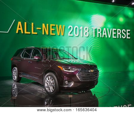 DETROIT MI/USA - JANUARY 12 2017: A 2018 Chevrolet Traverse SUV at the North American International Auto Show (NAIAS).