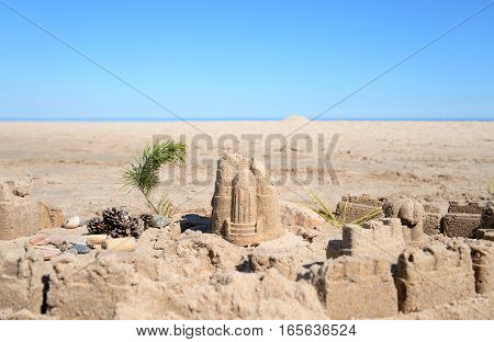 The castle on the sand in the Karelian Isthmus Russia.