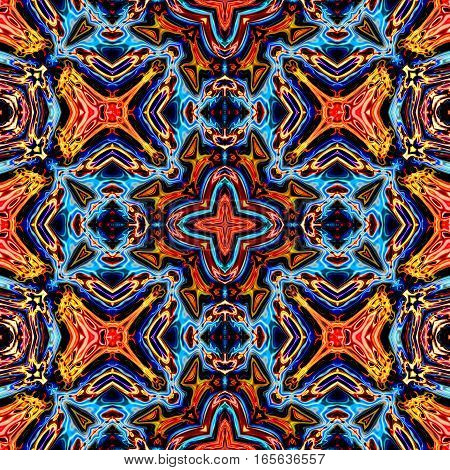 Computer generated illustration with blue and orange multicolour abstract kaleidoscopic pattern.