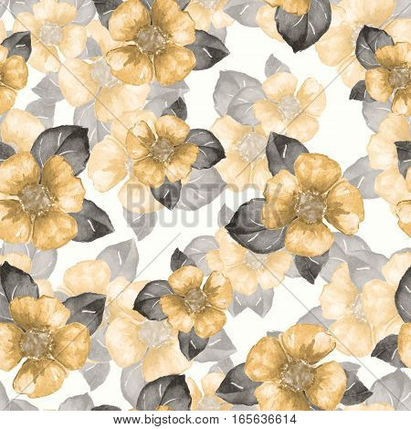 Floral pattern. Yellow flowers. Seamless background