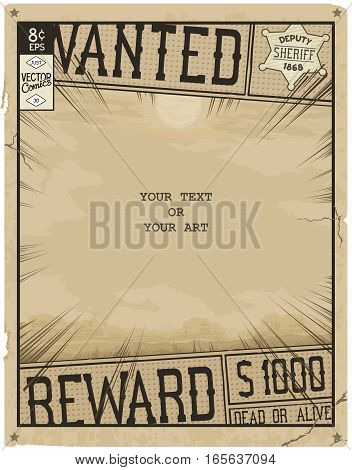 Vector template. Retro poster in style of times the Wild West. Comic book page with speed lines.