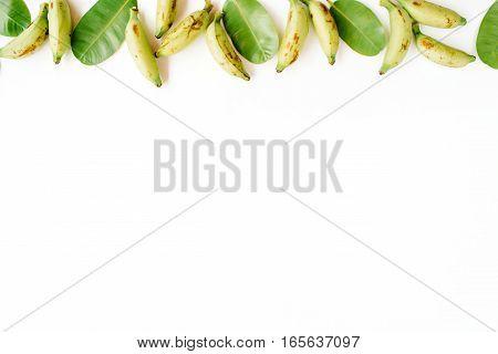 Bananas background. Flat lay top view. Blog hero or header