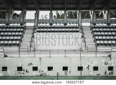 old green tennis stadium vintage tone , sitting