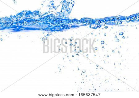 Blue lit line of water surface with splash wave and bubbles on bright background.