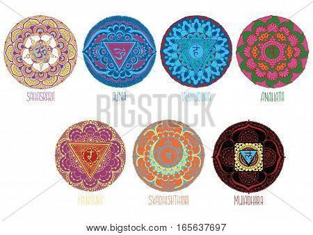9 decorative mandalas style mihendi symbolizing chakras