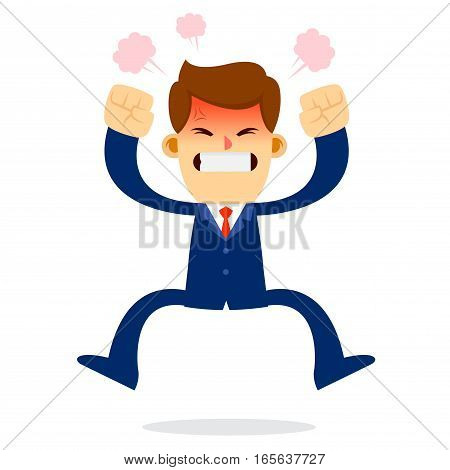Vector stock of a businessman feeling angry while jumping off the floor
