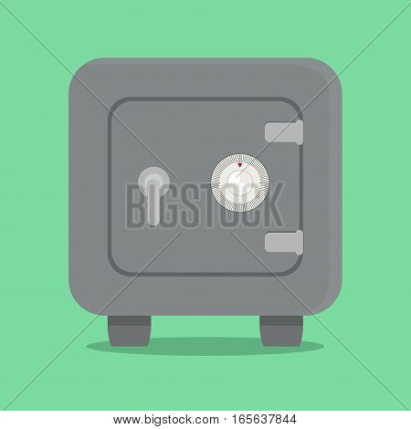 Metal safe with combination lock. Vector illustrations.