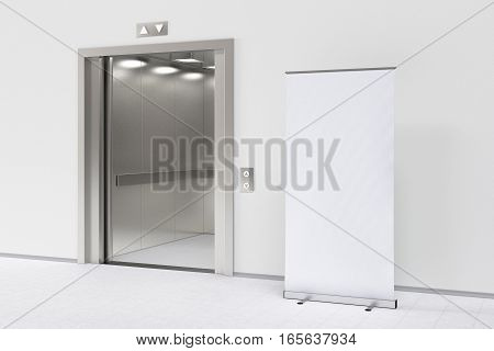 Elevator And Blank Roll-up Banner In The Modern Office Lobby