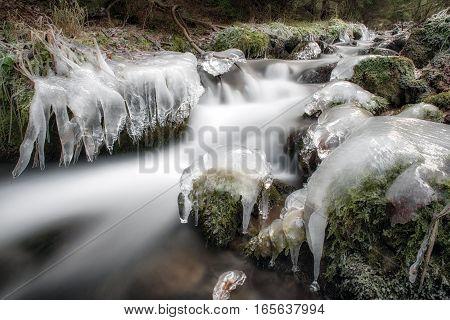 Frozen tree in winter river. Long exsposure with ND filter. Cutkovska valley, Slovakia