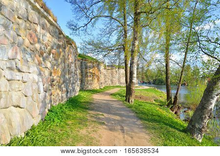 Wall of Old Korela fortress in the town of Priozersk Russia.