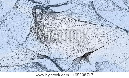 Abstract blue image. Wave grid background. Abstract illustration