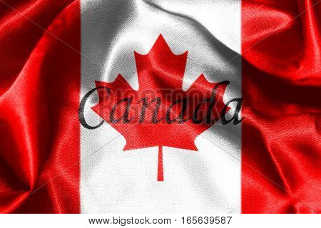 Canadian National Flag With Maple Leaf On It in Red And White Colors With Canada Written On It 3D Rendering