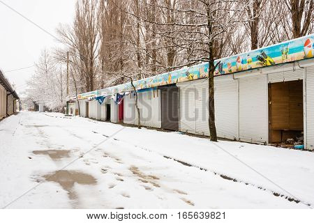 Vityazevo, Russia - January 9, 2017: View Of The Winter Closed And Looted Halls On The Way To The Se