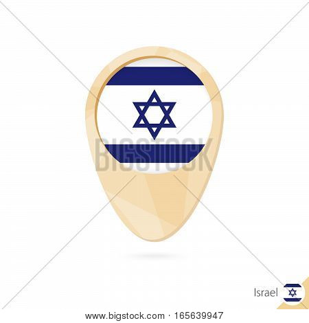 Map Pointer With Flag Of Israel. Orange Abstract Map Icon.