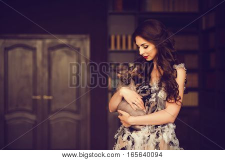 Amazing woman in a luxurious classic interior. Model holding a cat in hands.