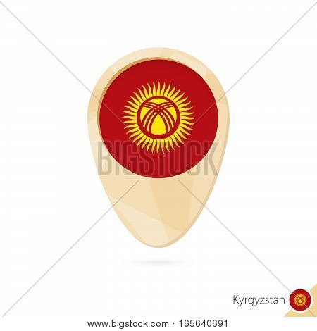 Map Pointer With Flag Of Kyrgyzstan. Orange Abstract Map Icon.
