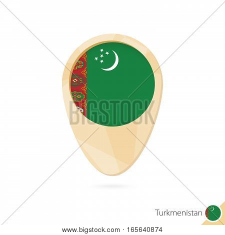Map Pointer With Flag Of Turkmenistan. Orange Abstract Map Icon.