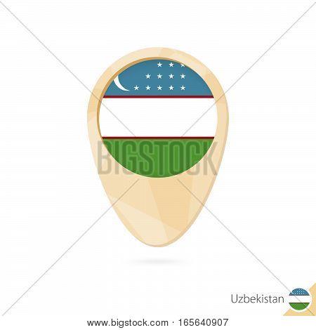 Map Pointer With Flag Of Uzbekistan. Orange Abstract Map Icon.