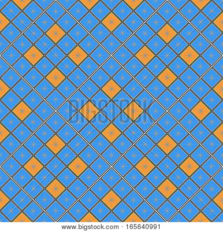 seamless geometric pattern, blue and orange diamond with a star, vector illustration