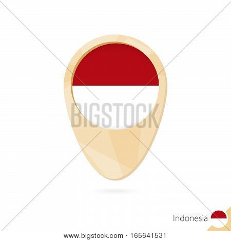 Map Pointer With Flag Of Indonesia. Orange Abstract Map Icon.