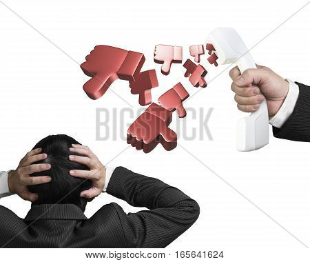 Man Hands Holding Head With Thumbs Down From Telephone Handset