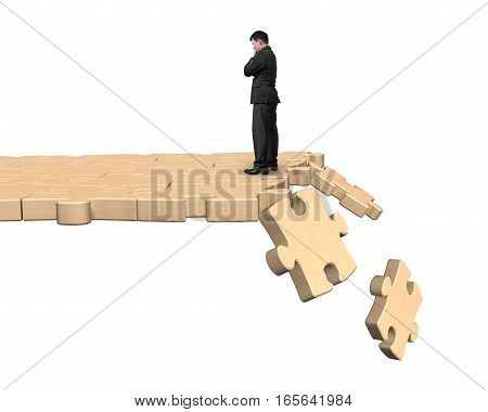 Thinking Man Standing On Breaking Puzzle Path